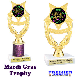 Mardi Gras Theme trophy.  Great trophy for your pageants, events, contests and more!   ph97-007