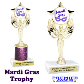 Mardi Gras Theme trophy.  Great trophy for your pageants, events, contests and more!   7517-001