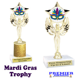 Mardi Gras Theme trophy.  Great trophy for your pageants, events, contests and more!   7517-002