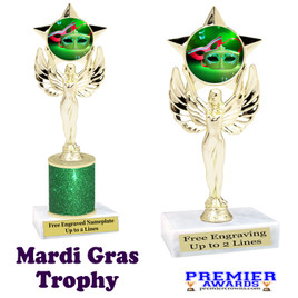 Mardi Gras Theme trophy.  Great trophy for your pageants, events, contests and more!   7517-003