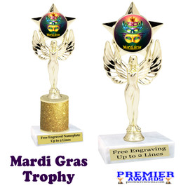 Mardi Gras Theme trophy.  Great trophy for your pageants, events, contests and more!   7517-004