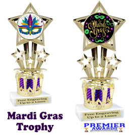 Mardi Gras Theme trophy with Crown base.  Great trophy for your pageants, events, contests and more!   Purple 767