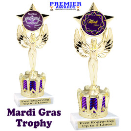 Mardi Gras Theme trophy with Crown base.  Great trophy for your pageants, events, contests and more!   Purple 7517
