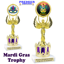 Mardi Gras Theme trophy with Crown base.  Great trophy for your pageants, events, contests and more!   Purple 80087