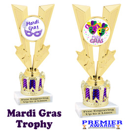 Mardi Gras Theme trophy with Crown base.  Great trophy for your pageants, events, contests and more!   Purple 92746