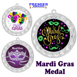 Mardi Gras theme medal.  Great medal for your pageants, contests, competitions and more.  935s