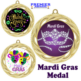 Mardi Gras theme medal.  Great medal for your pageants, contests, competitions and more.  938g