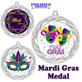 Mardi Gras theme medal.  Great medal for your pageants, contests, competitions and more.  938s