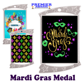 Mardi Gras theme medal.  Great medal for your pageants, contests, competitions and more.  927s