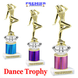 Dance Trophy.  Great trophy for your pageants, events, contests and more!   1 Column w/diamond.. 711