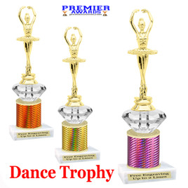 Dance Trophy.  Great trophy for your pageants, events, contests and more!   1 Column w/diamond.. 3391