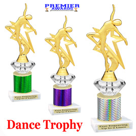 Dance Trophy.  Great trophy for your pageants, events, contests and more!   1 Column w/diamond.. 5009