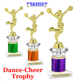 Cheer - Dance Trophy.  Great trophy for your pageants, events, contests and more!   1 Column w/diamond.. 7704