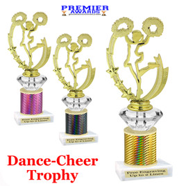 Cheer - Dance Trophy.  Great trophy for your pageants, events, contests and more!   1 Column w/diamond.. 90455