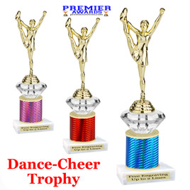 Cheer - Dance Trophy.  Great trophy for your pageants, events, contests and more!   1 Column w/diamond.. f640