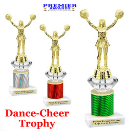 Cheer - Dance Trophy.  Great trophy for your pageants, events, contests and more!   1 Column w/diamond.. 9523