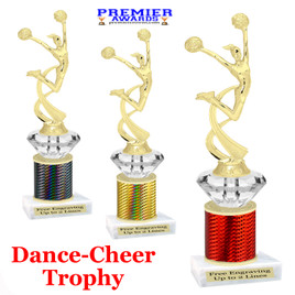 Cheer - Dance Trophy.  Great trophy for your pageants, events, contests and more!   1 Column w/diamond.. mf4506