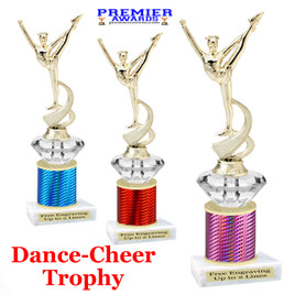 Cheer - Dance Trophy.  Great trophy for your pageants, events, contests and more!   1 Column w/diamond.. mf4536