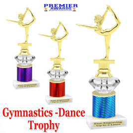 Gymnastics - Dance Trophy.  Great trophy for your pageants, events, contests and more!   1 Column w/diamond.. 2301