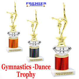 Gymnastics - Dance Trophy.  Great trophy for your pageants, events, contests and more!   1 Column w/diamond.. 2401