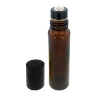 Wholesale 10 ml Amber Glass Roller Bottles with Stainless Steel Roll On Inserts and Black Caps