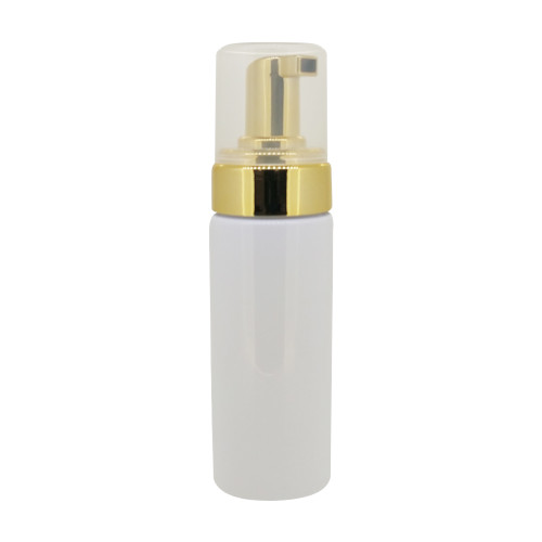 150ml White Essential Oil Foam Soap Bottle With Gold Pump And Clear Lid