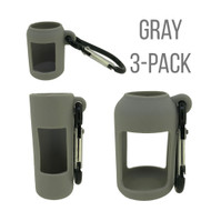 3-Pack Gray Silicone Holders for 5ml and 15ml EO Bottles and 10ml Roller Vials