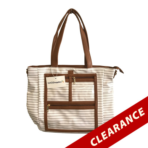 Sidney | Light Gray and White Striped Essential Oil Designer Tote with Gold Hardware and Clear Presentation Pockets