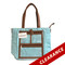 Lisa | Turquoise and White Striped Essential Oil Designer Tote with Gold Hardware and Clear Presentation Pockets
