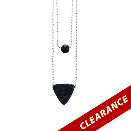 Triangle Lava Essential Oil Necklace with Lava Charm and Silver Chain
