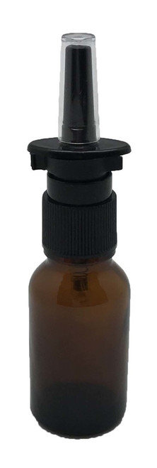 15 ml Boston Round Glass Amber Essential Oil Bottles with Nasal Spray Caps