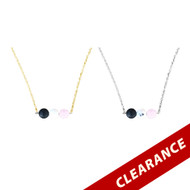 3 Lava Stones Essential Oil Diffuser Necklace With White And Pink Beads
