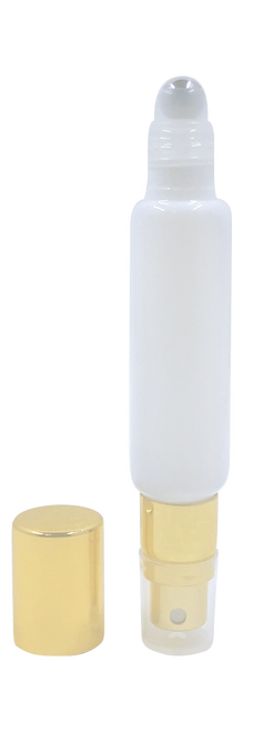 Dual Fitment 10 ml Essential Oil Roller Bottle | White and Gold