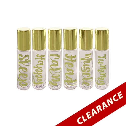 Gold Hot Stamped Clear 10ml Essential Oil Roller Bottles