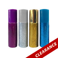 Assorted 10 ml Glitter Roller Bottles   4-Pack With Gold, Blue, Silver & Purple Vials