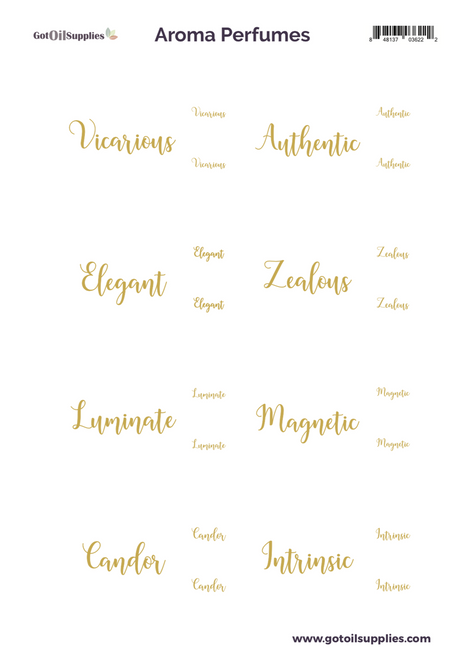 Aroma Perfumes Essential Oil Proof Gold Foil Label Sheets For EO Fragrances