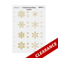 8 Gold Foil Snowflake On Clear Essential Oil Labels With Lid Stickers