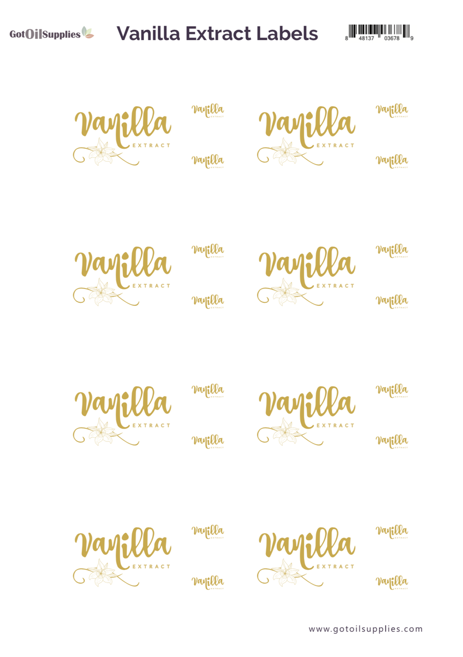 Vanilla Extract Essential Oil Gold Foil Labels and Lid Stickers