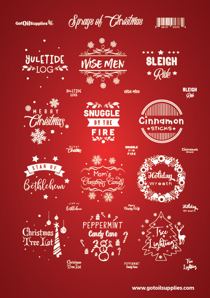 Sprays of Christmas Label Sheets for Essential Oil Holiday Room Spray