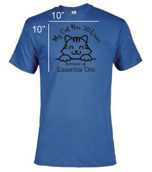 Women's Royal Blue My Cat Has 10 Lives Because Of Essential Oils Short Sleeve T-Shirt