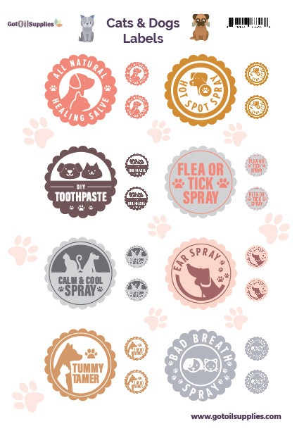 Cats and Dogs Label Sheet | Essential Oil Labels For Your Pets