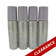 Gray Glitter Essential Oil 10ml Roller Bottles With Stainless Steel Metal Roll On Inserts