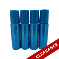 Blue Glitter Essential Oil 10ml Roller Bottles With Stainless Steel Metal Roll On Inserts