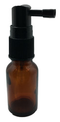 15 ml Boston Round Glass Amber Essential Oil Bottles with Throat Spray Caps
