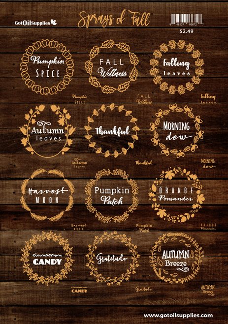 Sprays Of Fall Essential Oil Label Sheet | Room Sprays For Autumn