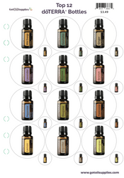 Top 12 dōTERRA® Essential Oil Bottles Label Sheets