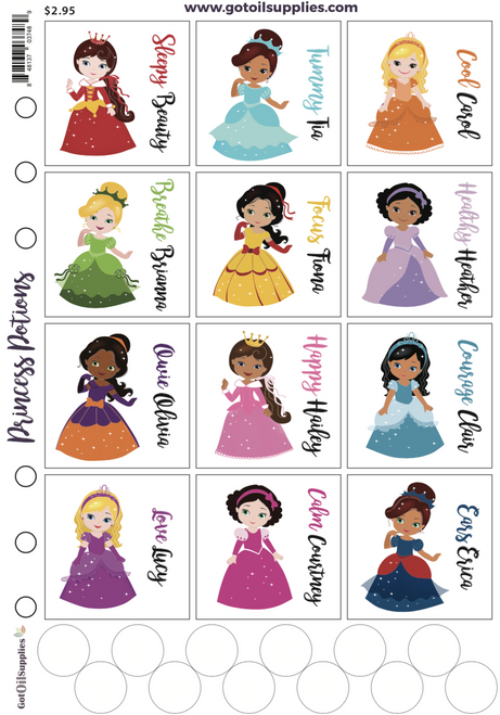 Princess Potion Label Sheets | Essential Oil Proof Labels For Kids