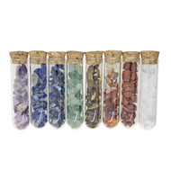 Chakra Gemstone Assortment | 8 Glass Tubes With Chip Stones