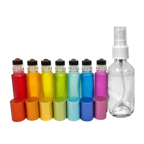 Chakra Gemstones | 7 10ml Essential Oil Rollers & 1 Bag of Chips With Chakra Bottles