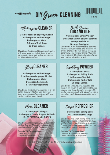 Do It Yourself Green Cleaning Essential Oil Recipe Sheets